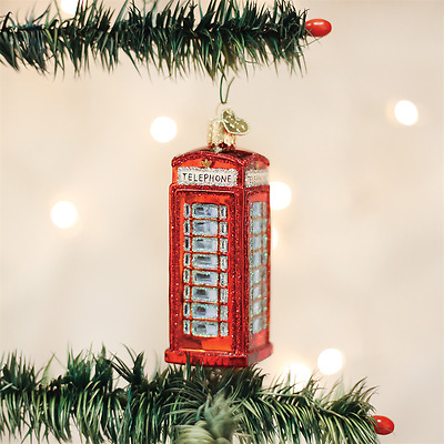 20033 Red English Phone Booth Old World Christmas Glass Ornament UK England