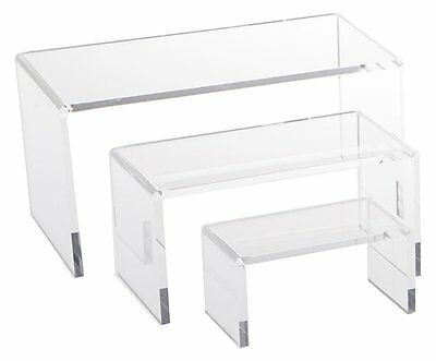 Medium Low Profile Clear Acrylic Plastic Risers Set 3 Pcs by AZM Displays