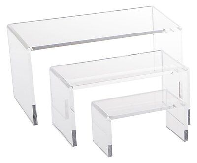 Medium Low Riser Set Clear Acrylic Display Jewelry Showcase AZM Display Made USA