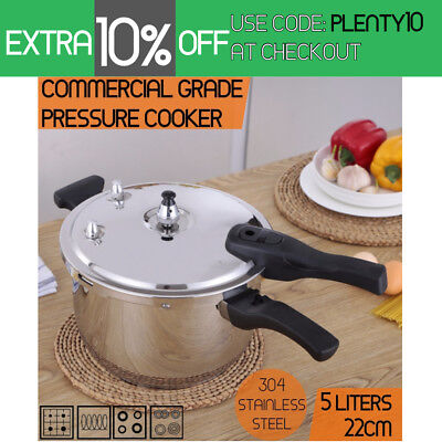 Commercial Grade Stainless Steel Pressure Cooker 5.0L (22cm)  1 Year Warranty