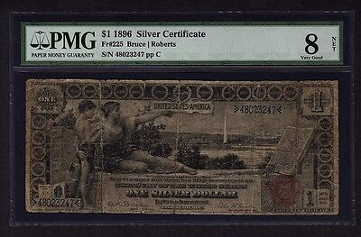 1896 $1 Educational Silver Certificate PMG 8 VG NET One Dollar Bank Note Fr#225