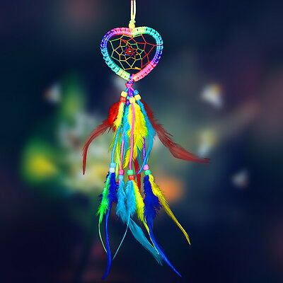 Colorful Heart Handmade Dream Catcher Net w/ Feather Hanging Decor Ornament Gift