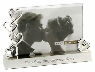 "Personalised Silver Hearts Photo Frame 6""x 4"" Engraved Any Message Wedding Gift"