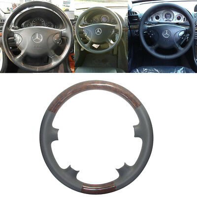 Grey Leather Wood Steering Wheel Cover Cap for 02-05 Mercedes Benz W211 E-Class
