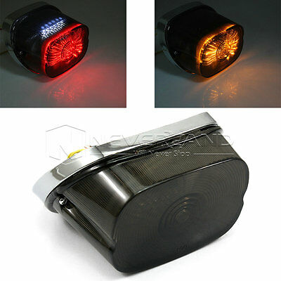Smoke LED Brake Turn Tail Lights For 91-10 Harley Sportster Softail Dyna Touring