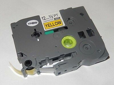 RUBAN CASSETTE 12mm N/J pour Brother P-Touch 7100 / 7100VP / 7500VP