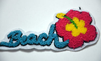 BEACH SURFING FLOWER HAWAII PLUSH Embroidered Sew On Cloth Patch Badge APPLIQUE