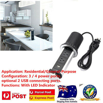 New OZ Home Kitchen Pop Up Power Point 3 Sockets Plug 2 USB Charging Table
