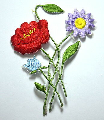 MEADOW FLOWERS POPPY DAISY  Embroidered Sew Iron On Cloth Patch Badge APPLIQUE
