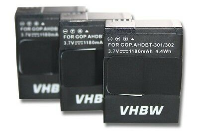 3x Batterie 1180mAh pour Gopro Hero 3 III White Edition