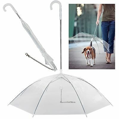 Dog Pet Puppy Umbrella High Quality Clear Plastic Transparent Metal Chain Lead