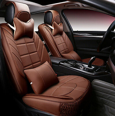 Universal Luxury Car Seat Covers Full Set Coffee PU Leather for All 5 Seats Car