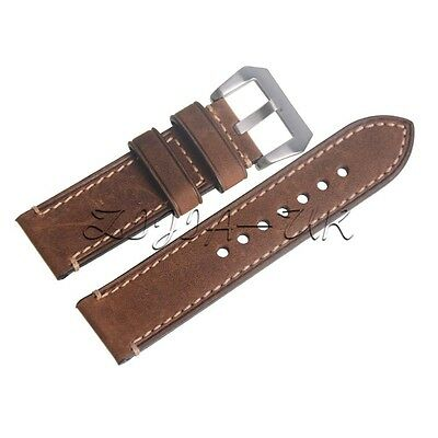 Genuine Leather Brown 24mm Wristwatch Watch Strap Band  with Silvery Buckle
