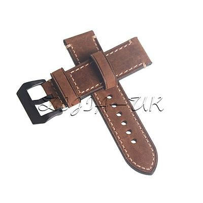 Genuine Leather Brown Watch Strap Wristwatch Band Watchband 24mm Width