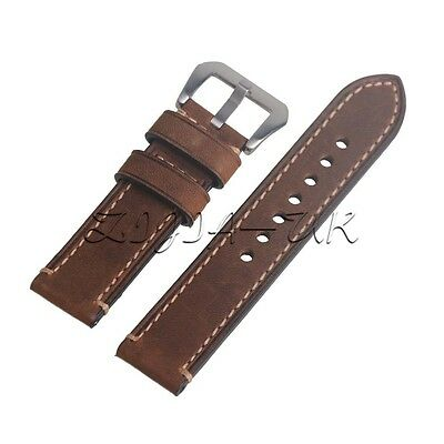 Brown 22mm Genuine Leather Wristwatch Watch Strap Band Watchband with Silvery Bu