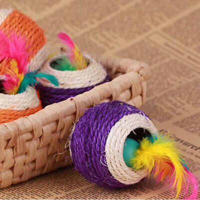 Funny Pet Products Scratch Sisal Ball Dual Holes With Feather Pet Cat Dog Toys