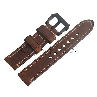Brown Vintage Genuine Leather 20mm Replacement Watchband Wristwatch Watch Strap