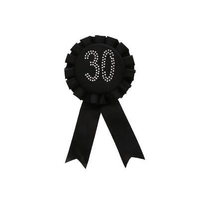 Diamante Number Rosette Badge Black - 30th Birthday