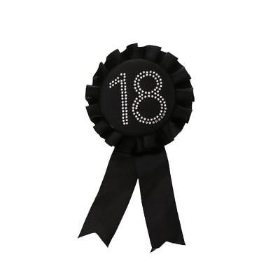 Diamante Number Rosette Badge Black - 18th Birthday