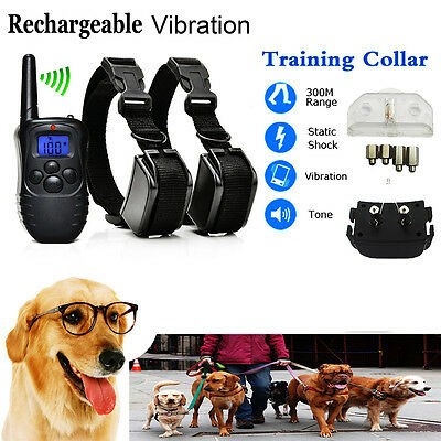 Rechargeable Electric Shock Collar 2 Dogs Training Remote Control Anti-Bark XG