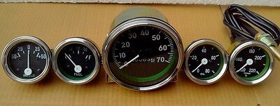 Willys MB Jeep Ford CJ GPW Gauges Kit - Speedometer 70 mph+Temp+Oil+Fuel+ Ampere