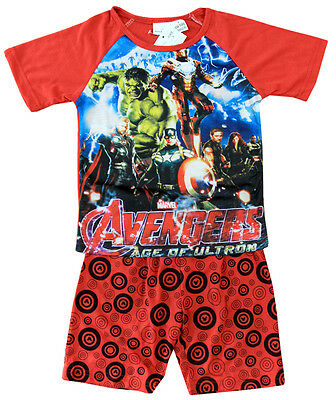 New Size 2-8 Kids Pyjamas Summer Boys Avenger Marvel Top Tshirt Tee Sleepwear