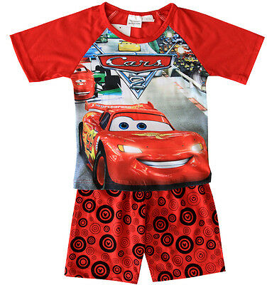 New Size 1-6 Kids Boys Pyjamas Summer Disney Cars Top Tshirt Tee Sleepwear