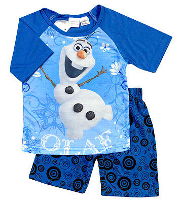 New Size 2-8 Kids Boys Pyjamas Summer Disney Frozen Olaf Top Tshirt Sleepwear Pj