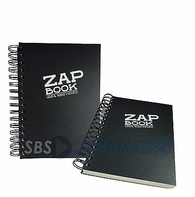 Clairefontaine Zap Spiral A5 Sketch Book 100% Recycled 160 Sheets Black Cover
