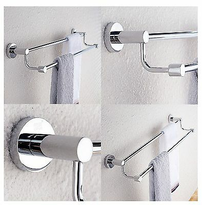 Wall Mounted Towel Rail Rod Double SS Chrome Finish 24 inches By Wesda