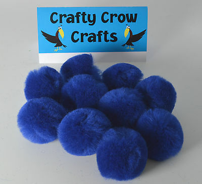 10 x LARGE NAVY 50mm POM POMS