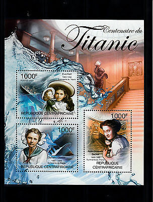 Central African Republic 2013 MNH Titanic Centenary 3v M/S Ships Boats Stamps