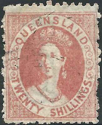 QUEENSLAND 1860-81 Chalon Head 20/- Rose ACSC 14 CV$490 very fine used - elusive