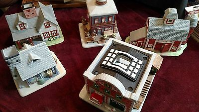 Partylite Fire Station. Farm, General Store & Bakery Candle Holders 5 Total