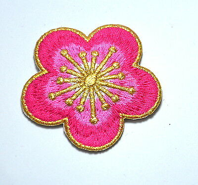 PINK GOLD FLOWER BLOSSOM   Embroidered Sew Iron On Cloth Patch Badge APPLIQUE