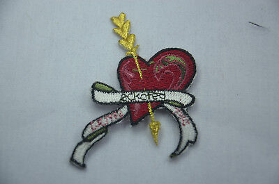 RED LOVE HEART CUPID ARROW 7cm  Embroidered Sew Iron On Cloth Patch APPLIQUE