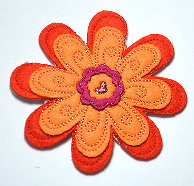 ORANGE FLOWER DAISY 8CM   Embroidered Sew Iron On Cloth Patch Badge APPLIQUE