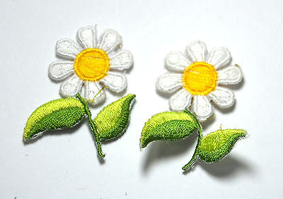 2pcs DAISY DAISIES FLOWERS  Embroidered Sew Iron On Cloth Patch Badge APPLIQUE