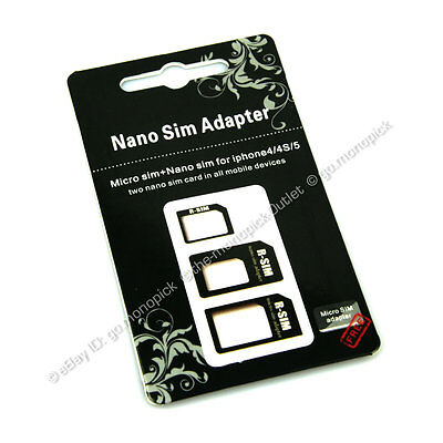 3in1 Nano to Micro to Mini SIM Card Adapter For Samsung Galaxy S3 S4 S5 Note 2 3