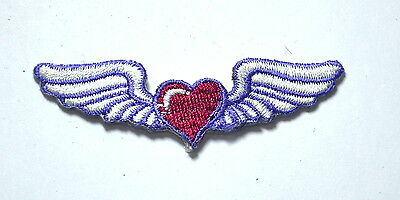 8cm WINGED LOVE HEART WINGS  Embroidered Sew Iron On Cloth Patch Badge APPLIQUE