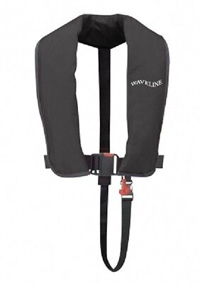 Waveline ISO Approved 165N Adult Automatic Lifejacket in BLACK. New from Stock