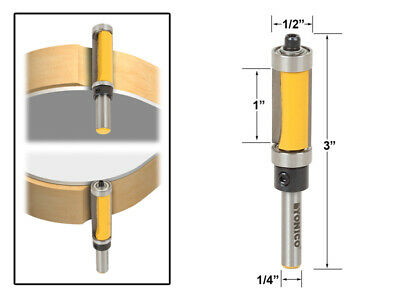 "1"" Flush Trim Top and Bottom Bearing Router Bit - 1/4"" Shank - Yonico 14981q"
