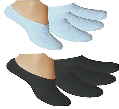Mens Womens Invisible Trainer Socks White & Black Cotton Rich 3, 6 &12 Pairs