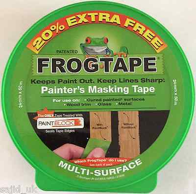 FrogTape Multi-Surface Masking Painting Tape - Green - 24mm x 41.1m + 20% FREE