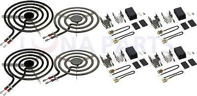 Pack of 4 Range Burner Set for GE 2 each WB30X254 WB30X253 with 4 receptacles