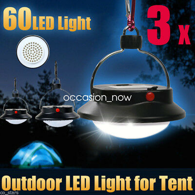 3pcs Ultra Bright 60 LED Outdoor Camping Tent Light Lantern Hiking Fishing Lamp