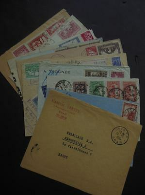 ALGERIA : Fascinating group of 11 covers with interesting markings. Some unusual