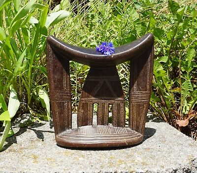 Vintage Ethiopian Headrest African Cultural Carved Pattern Wood Collectible