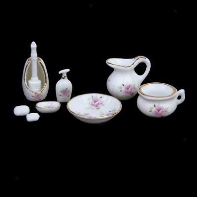 8PC Dolls House Miniature Bathroom Accessory Toiletries Rose Floral Ceramic