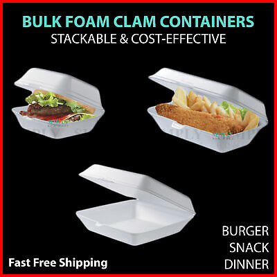 100x Foam Clam Take Away Containers Boxes Burger Dinner Snack Plates Hot Bulk
